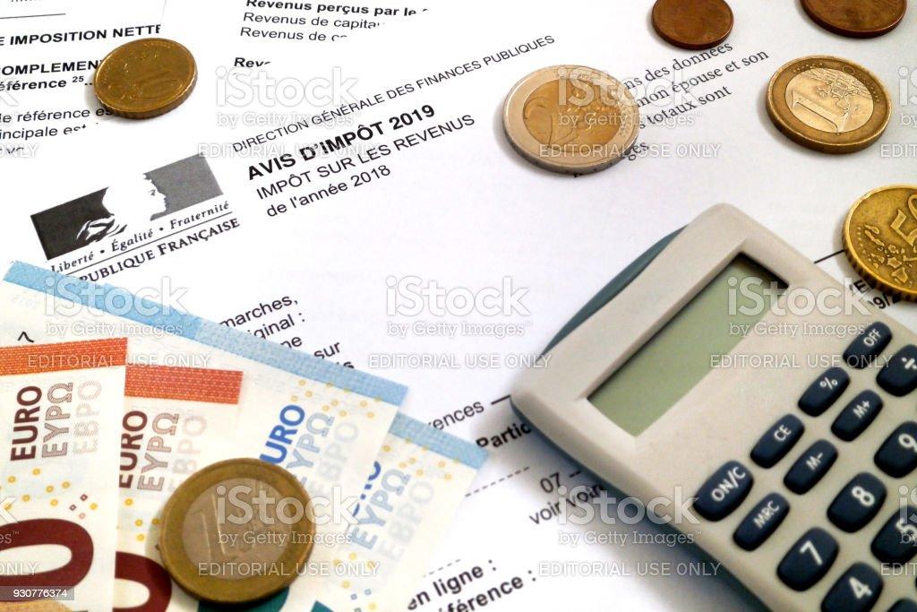 Avis d'impôt sur le revenu des Français - Photo