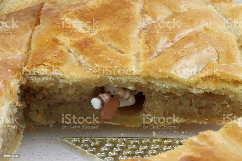French King cake and his trinket stock photo