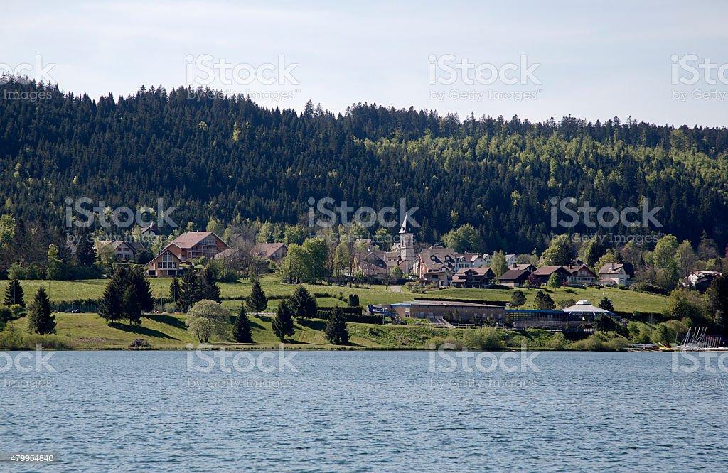 French lake Lac Saint Point with village Malbuisson stock photo