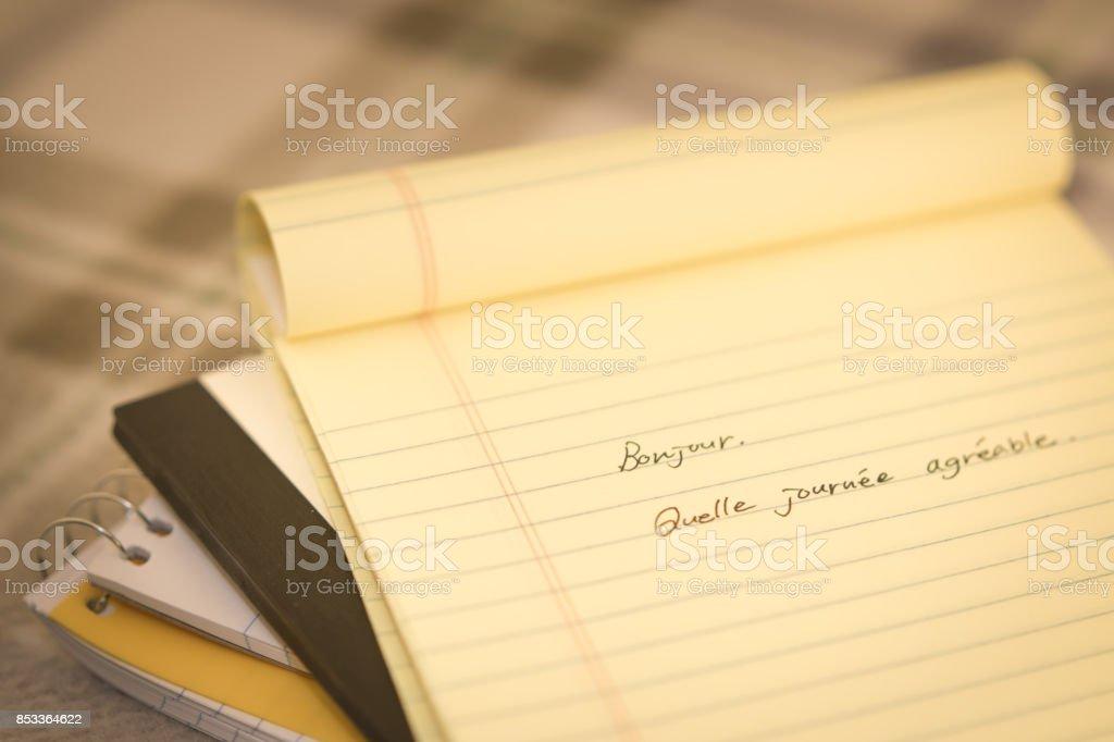 Französisch Neue Sprache Schreiben Grüße Auf Dem Notebook