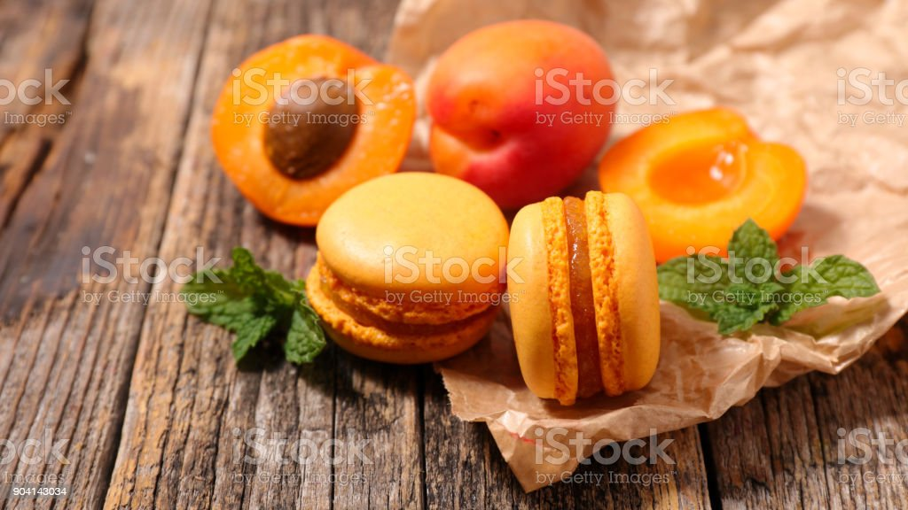 french macaroon on wood background stock photo