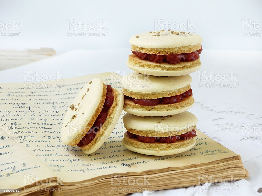 French macaroons dessert with cornel filling and anise royalty-free stock photo