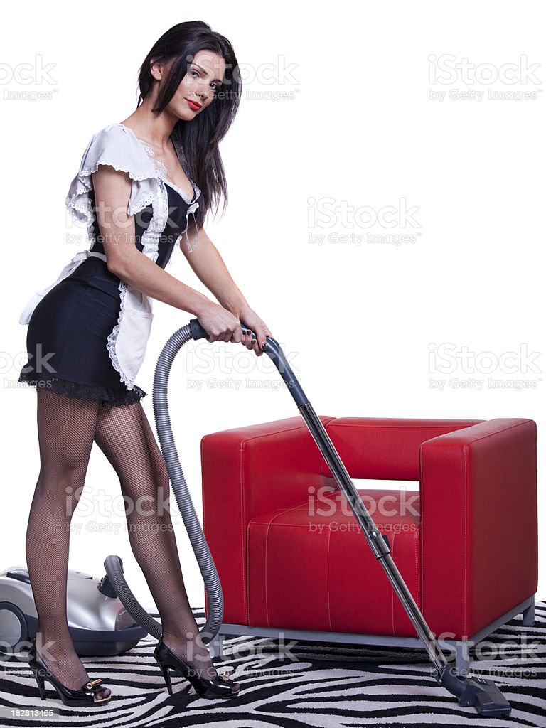 French Maid Cleaning With Vacuum Cleaner Stock Photo