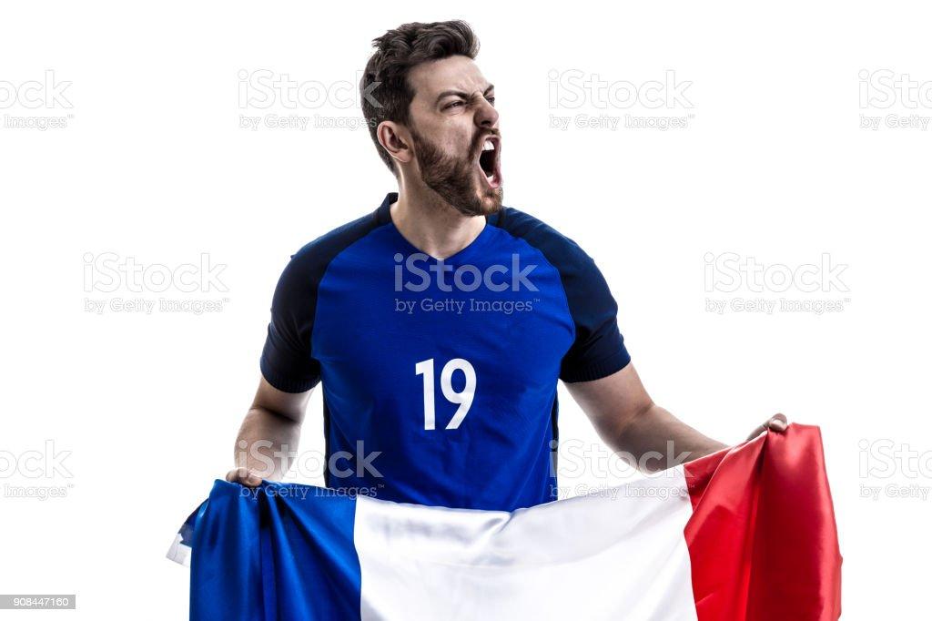 French male athlete / fan celebrating on white background stock photo