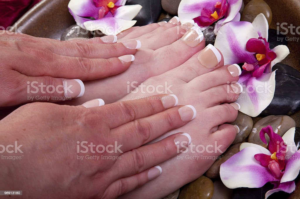 French manicure and pedicure royalty-free stock photo