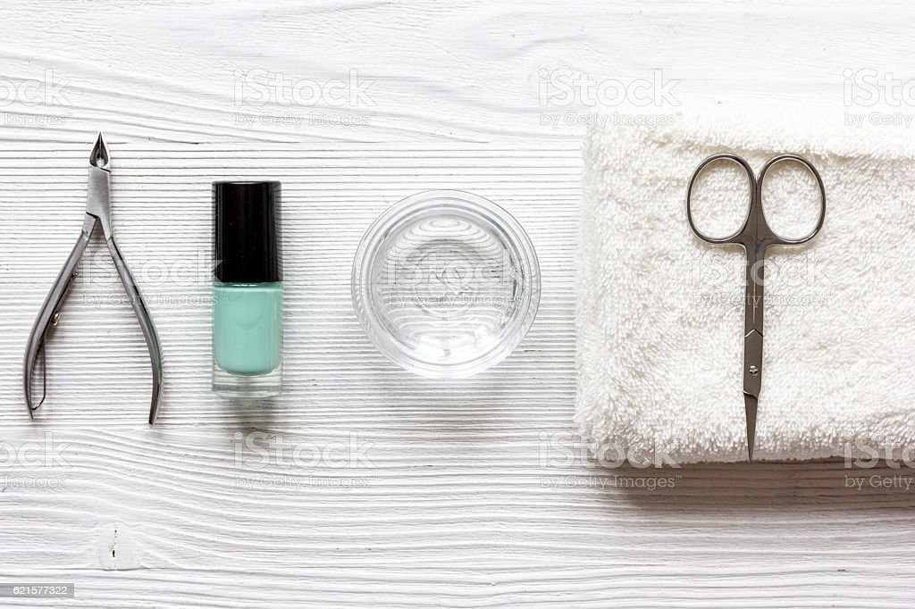 French manicure - preparing tools on wooden backround top view photo libre de droits