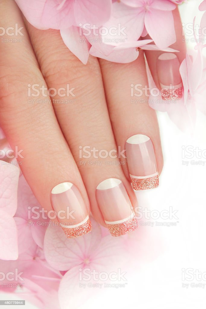 French manicure with glitter. stock photo