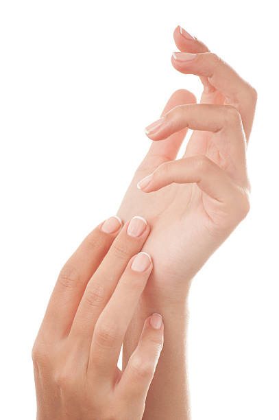 French manicured hands stock photo