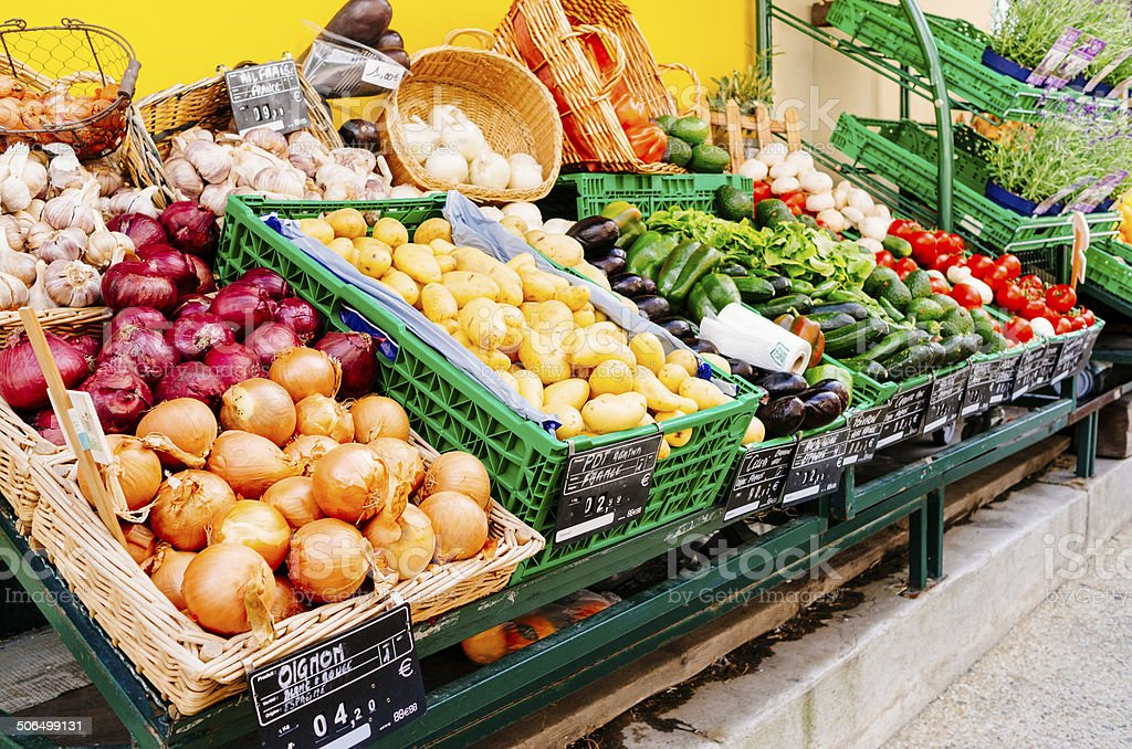 French market day produce stock photo