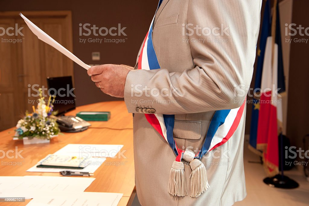 French mayor reads a paper stock photo