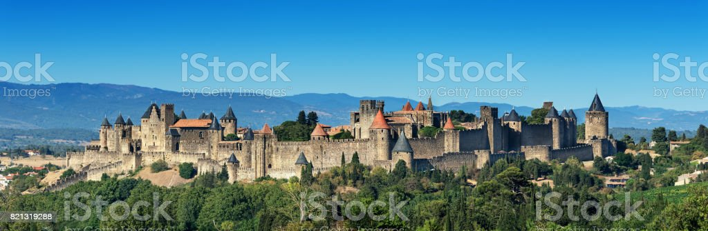 french medieval Carcassonne fortress stock photo