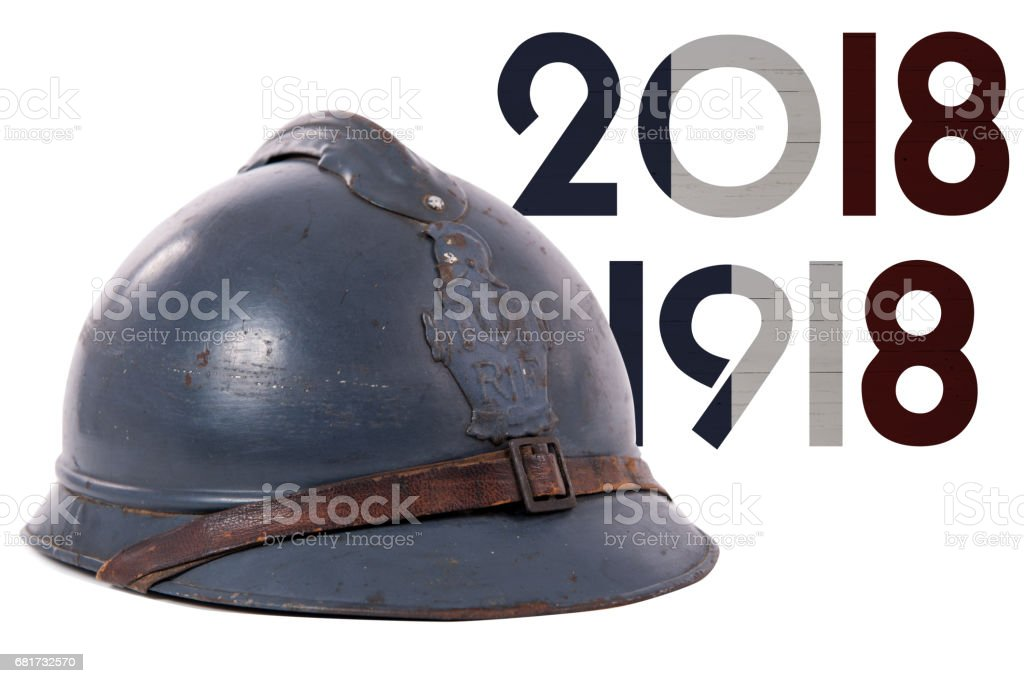 french military helmet of the First World War isolated on white background stock photo