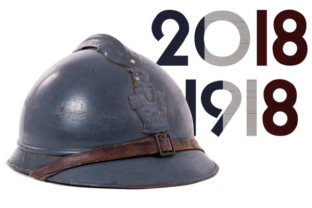 french military helmet of the first world war isolated on white background - guerre 14 18 photos et images de collection