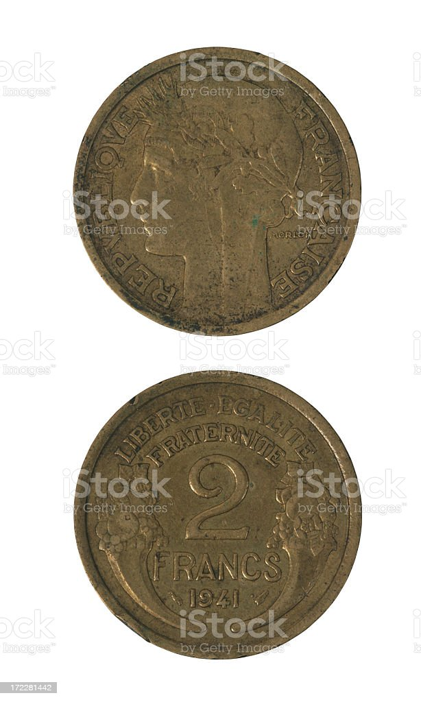 French money year 1941 royalty-free stock photo