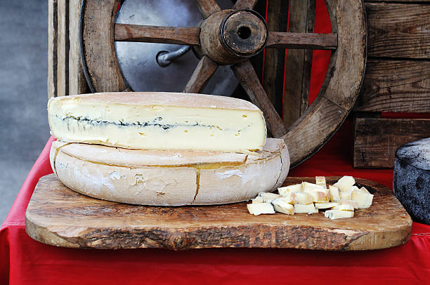 French Morbier cheese on market stall stock photo