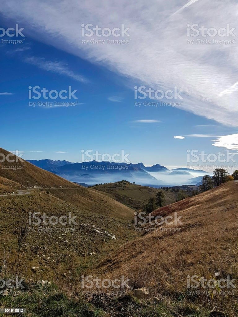 French mountain landscape, Mercatour National Park, France stock photo