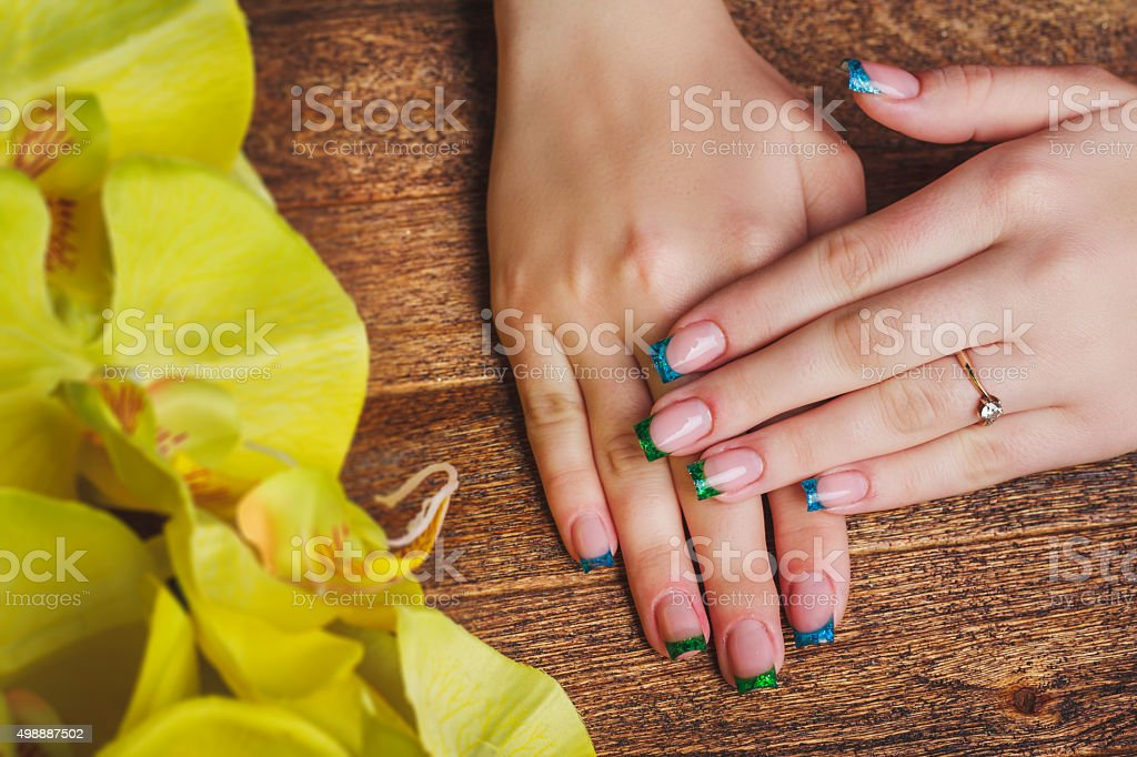 French Nail Art In Blue And Green Color Stock Photo More Pictures