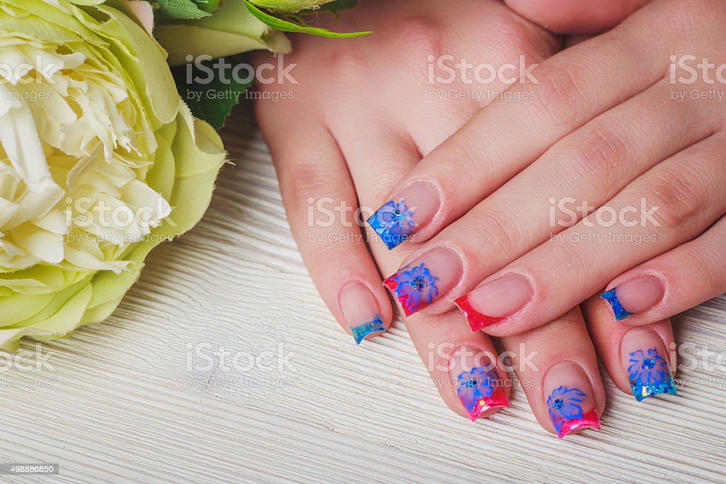 French Nail Art On Wooden Background Stock Photo More Pictures Of
