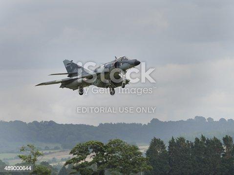 Yeovilton, UK - 11th July 2015: French Navy Etendard fighter flying at Yeovilton Air Day.