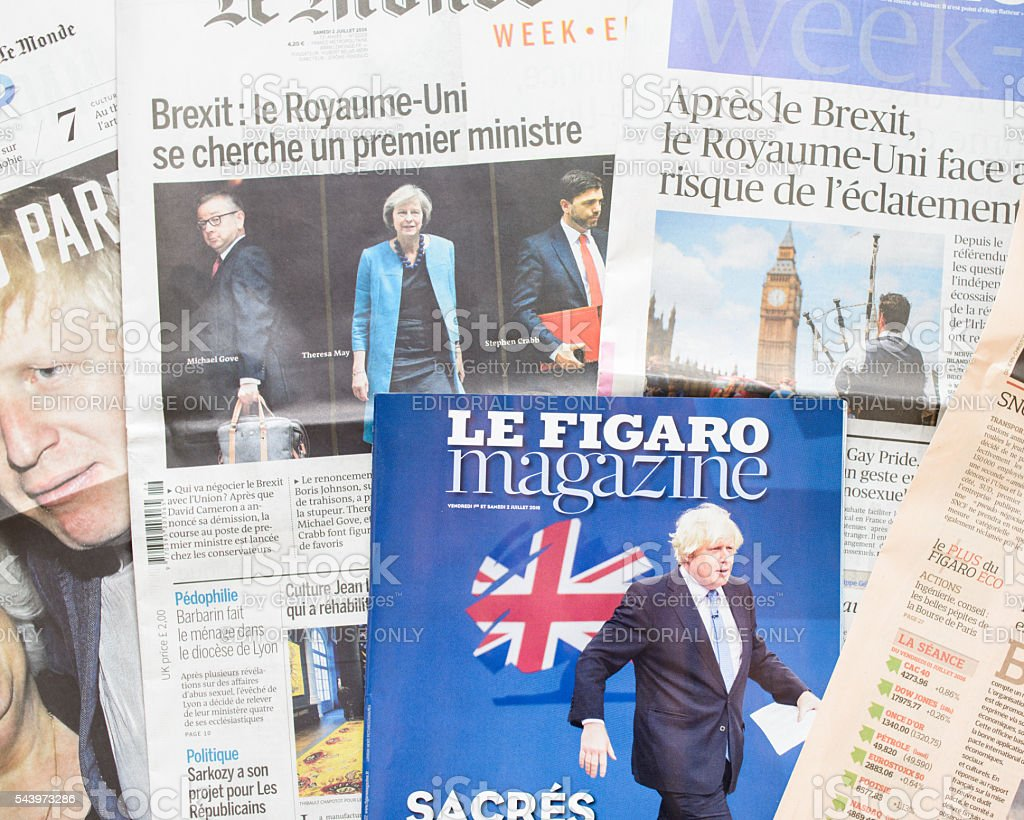 French newspapers react to post-Brexit UK Political fallout royalty-free stock photo