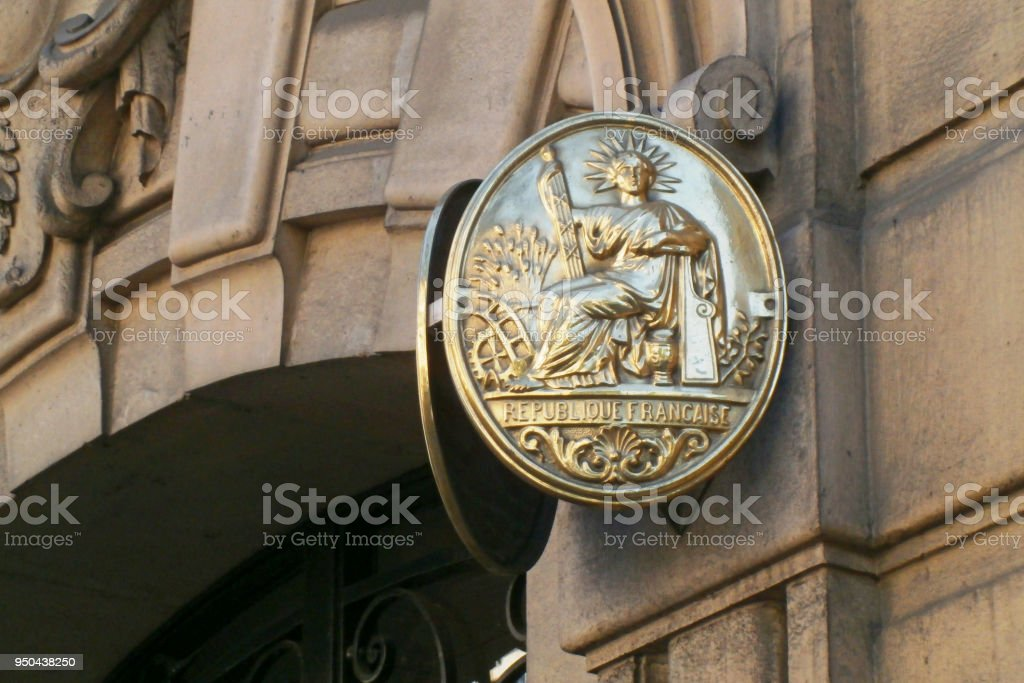 French notary nameplate stock photo