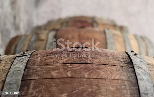 French Oak Wine Barrel in Beaujolais Wine cellar, in Selene Estate