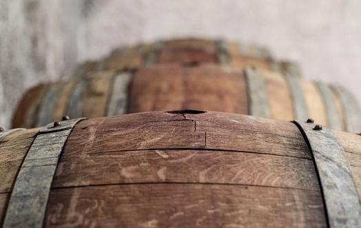 French Oak Wine Barrel in Beaujolais Wine cellar