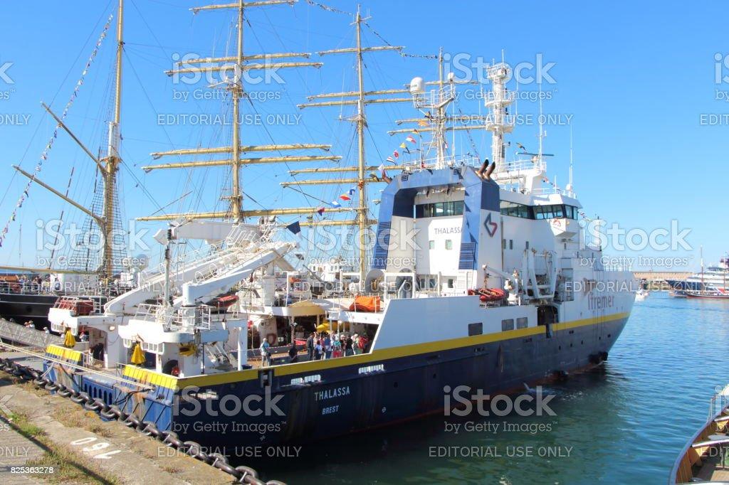French oceanographic boat in Brest harbor stock photo