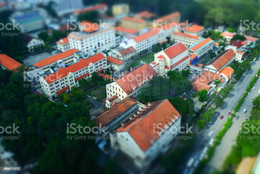 French old architecture in Saigon, Ho Chi Minh City, Vietnam stock photo
