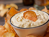 French Onion Dip with Hand Made Potato Chips and a Beer
