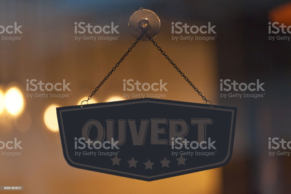 French open sign in a window stock photo