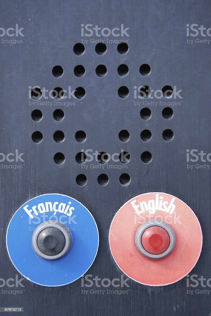 French or English ? Just push ! royalty-free stock photo
