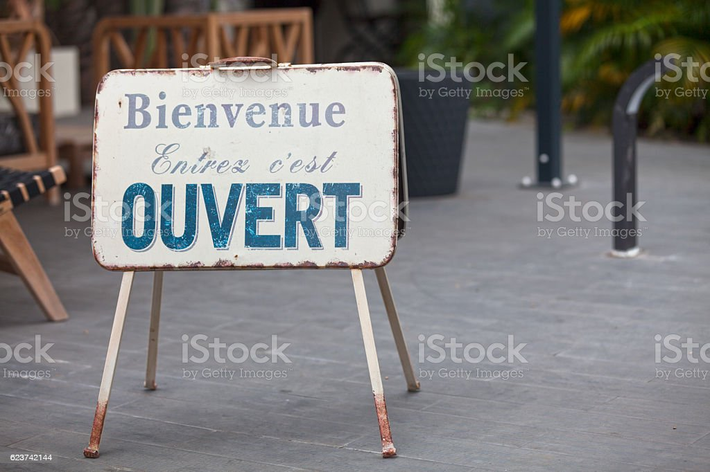 French outdoor Open sign stock photo