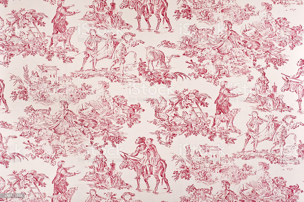 Toile Francaise Antique Fabric stock photo