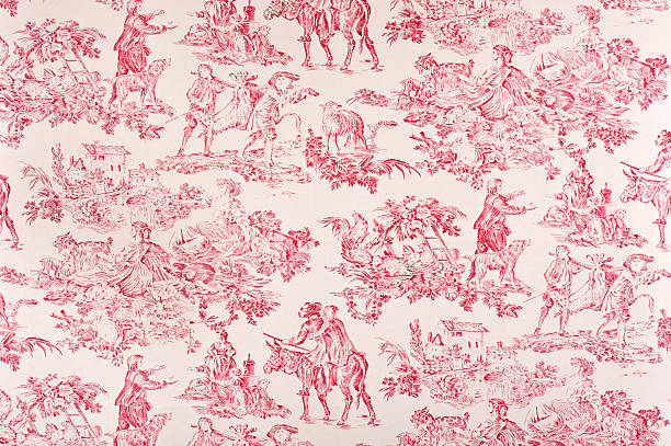Toile Francaise Antique Fabric Antique red toile fabric containing images of life during the 1800's. Fabric depicts men hunting, women sitting in the fields, a farm house, dogs, women working. french culture stock pictures, royalty-free photos & images