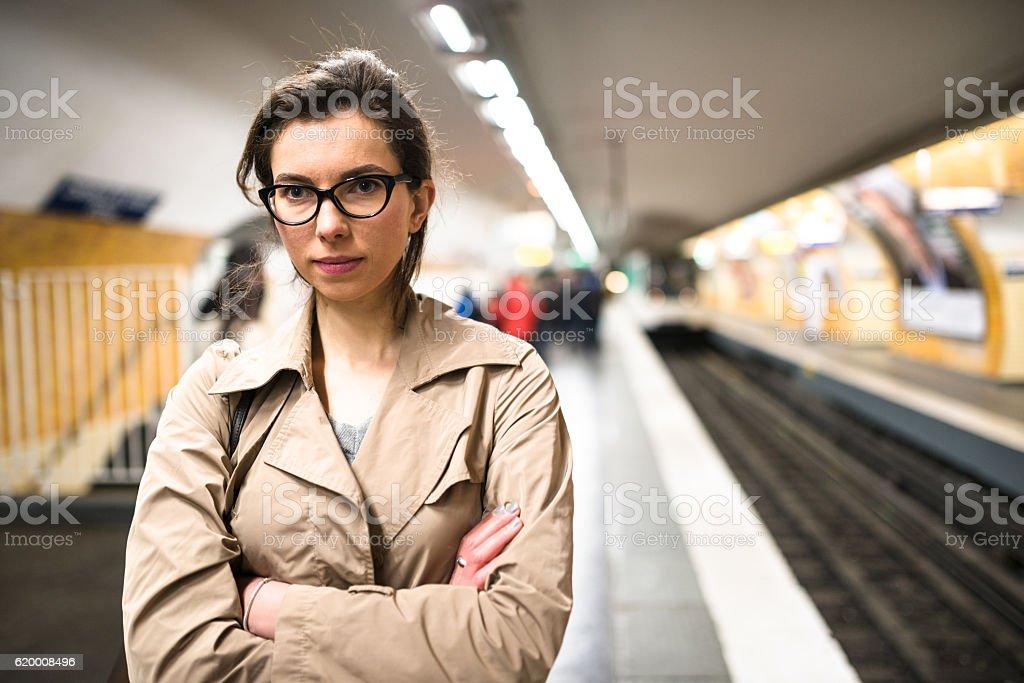 french passenger inside the paris metro waiting the train zbiór zdjęć royalty-free