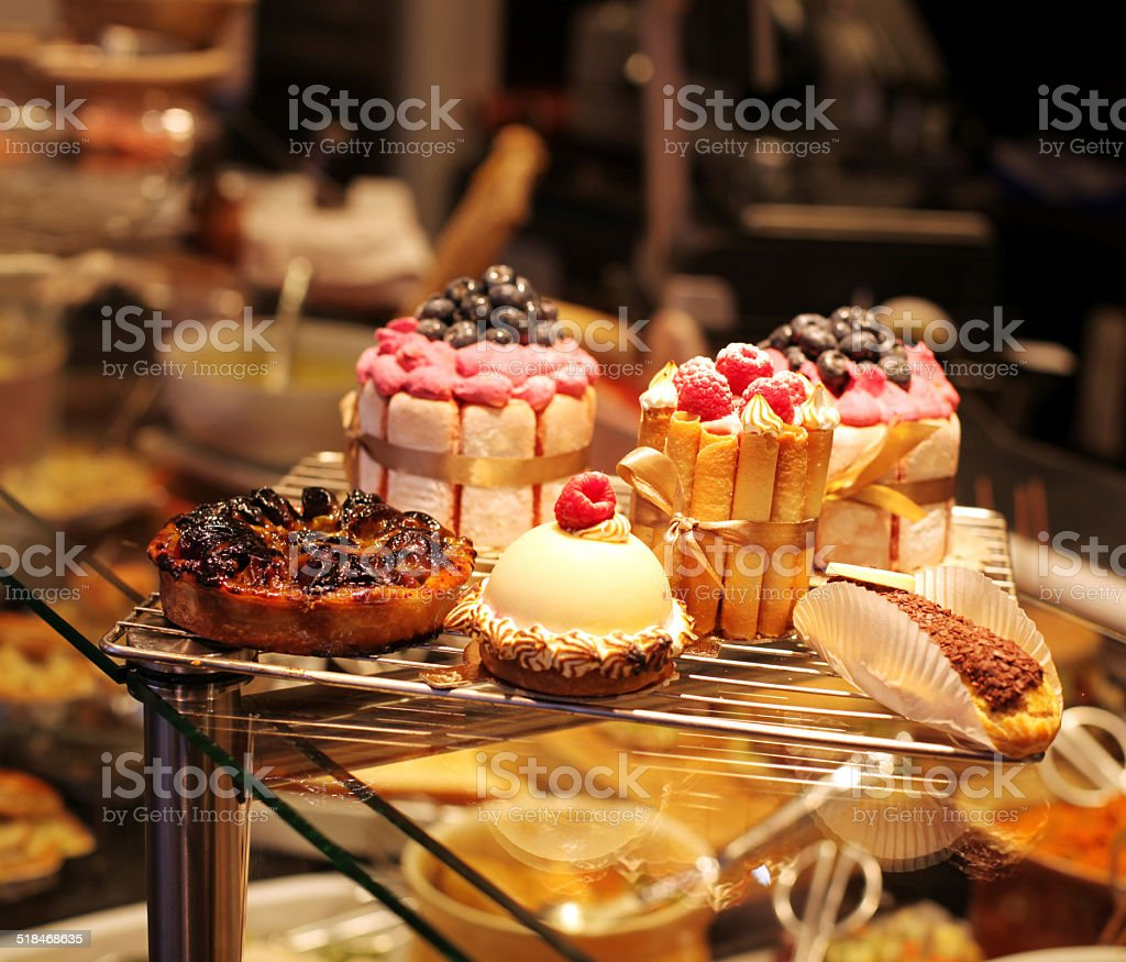 French pastries on display a confectionery shop stock photo