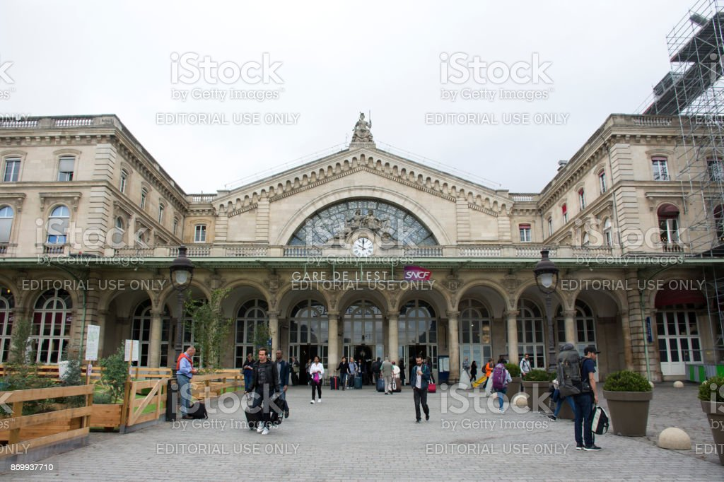 French people and foreigner travlers walking in out and wait train at Gare de Paris-Est stock photo