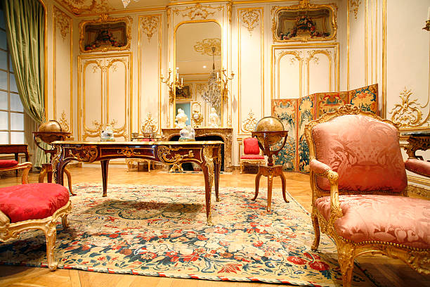 french period room - baroque stock photos and pictures