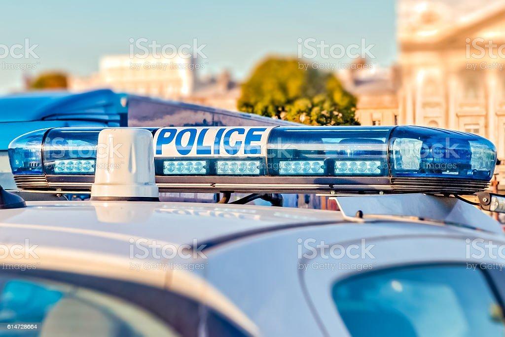 French Police Car light bar stock photo