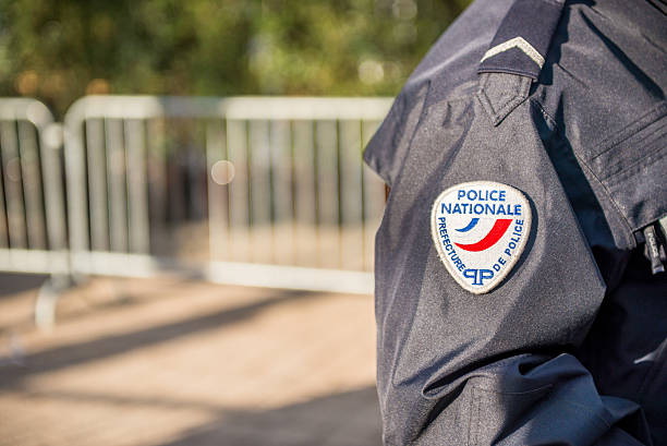 French policeman close view on his badge stock photo