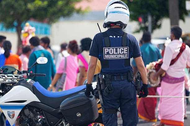 French policeman during a parade stock photo