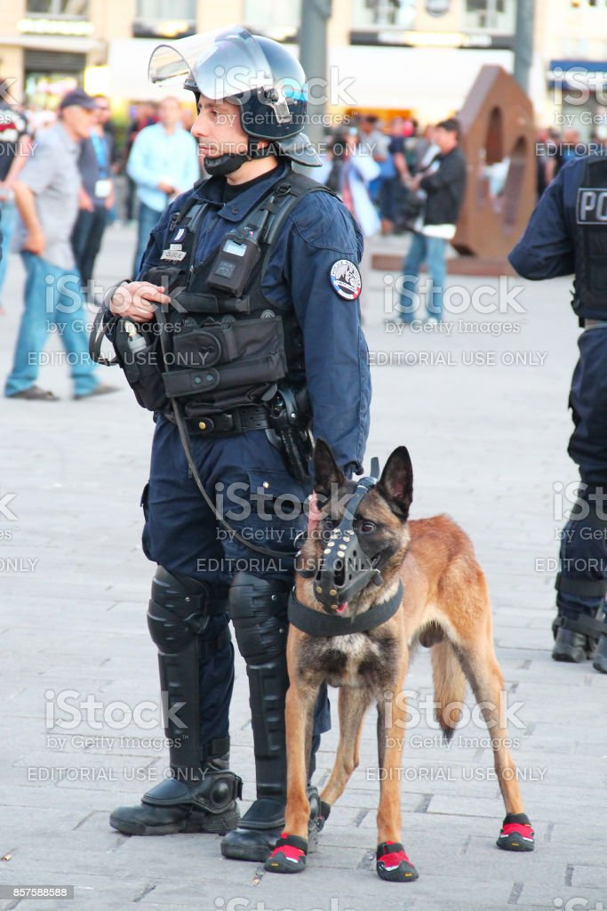French policeman with the dog in Marseille stock photo