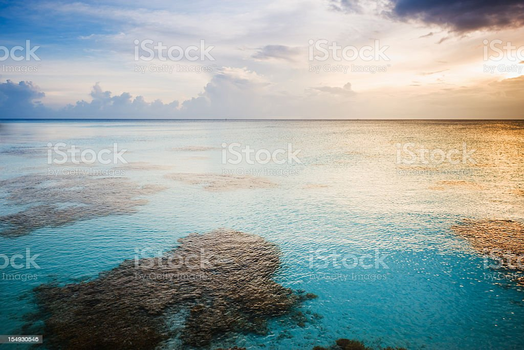 French Polynesia Colorful Sunset Fakarava Tuamotu Archipelago royalty-free stock photo