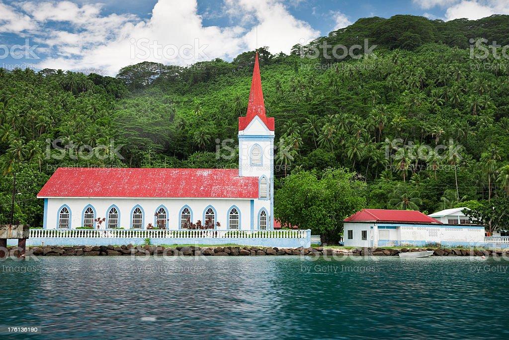 French Polynesian Church Tahaa Island stock photo