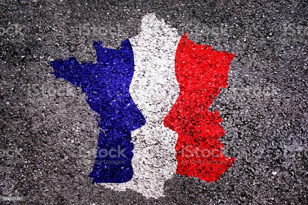French presidential elections concept, map of France with 2 faces stock photo