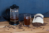 Coffee brewing equipment on the table