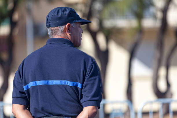 """French prison guard Saint Denis, Reunion Island - July 14 2016: Prison guard from the """"Administration pénitentiaire"""" parading during Bastille Day. civil servant stock pictures, royalty-free photos & images"""