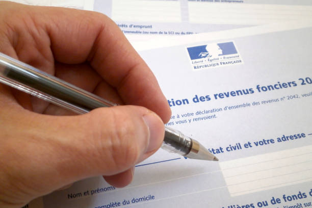 French property tax form stock photo