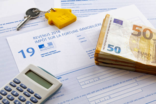 French Property wealth tax form stock photo